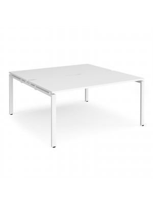 Adapt II back to back desks 1600mm x 1600mm - white frame, white top