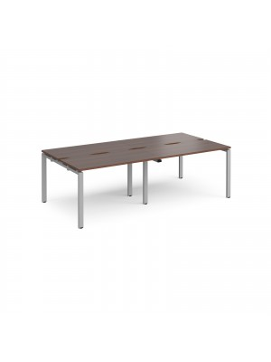 Adapt II double back to back desks 2400mm x 1200mm - silver frame, walnut top