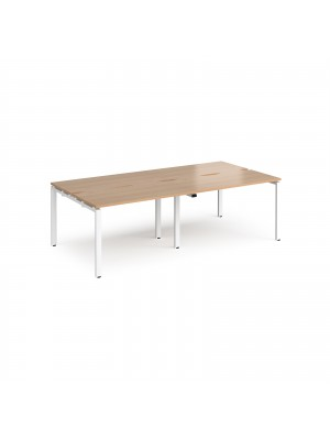 Adapt II double back to back desks 2400mm x 1200mm - white frame, beech top