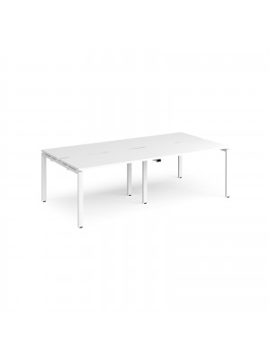 Adapt II double back to back desks 2400mm x 1200mm - white frame, white top