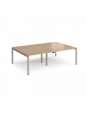 Adapt II double back to back desks 2400mm x 1600mm - silver frame, beech top