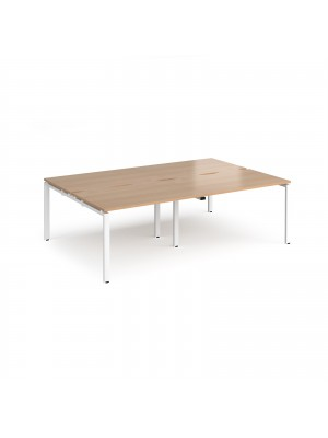 Adapt II double back to back desks 2400mm x 1600mm - white frame, beech top