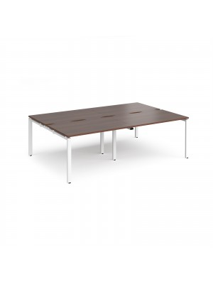Adapt II double back to back desks 2400mm x 1600mm - white frame, walnut top