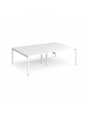 Adapt II double back to back desks 2400mm x 1600mm - white frame, white top
