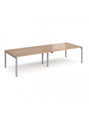 Adapt II double back to back desks 3200mm x 1200mm - silver frame, beech top