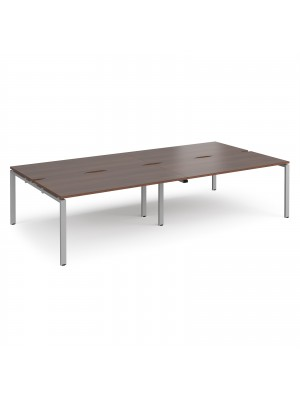 Adapt double back to back desks 3200mm x 1600mm - silver frame, walnut top