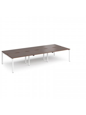 Adapt II triple back to back desks 3600mm x 1600mm - white frame, walnut top