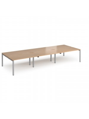 Adapt triple back to back desks 4200mm x 1600mm - silver frame, beech top