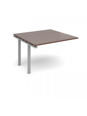 Adapt II boardroom table add on unit 1200mm x 1200mm - silver frame, walnut top