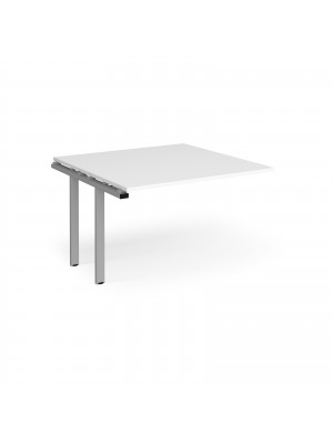 Adapt II boardroom table add on unit 1200mm x 1200mm - silver frame, white top