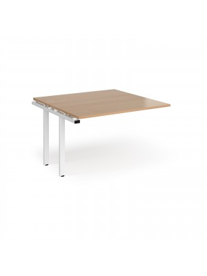 Adapt boardroom table add on unit 1200mm x 1200mm - white frame, beech top