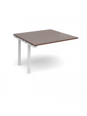Adapt II boardroom table add on unit 1200mm x 1200mm - white frame, walnut top