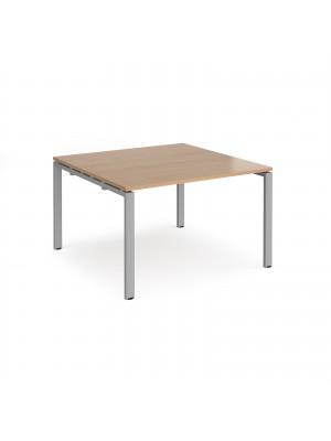 Adapt II boardroom table starter unit 1200mm x 1200mm - silver frame, beech top