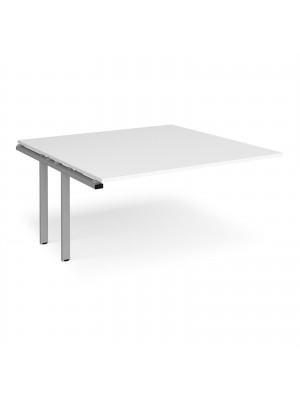 Adapt boardroom table add on unit 1600mm x 1600mm - silver frame, white top