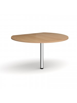 D-end desk extension circular table 1200mm diameter with chrome leg - beech top