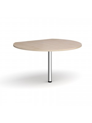 D-end desk extension circular table 1200mm diameter with chrome leg - maple top
