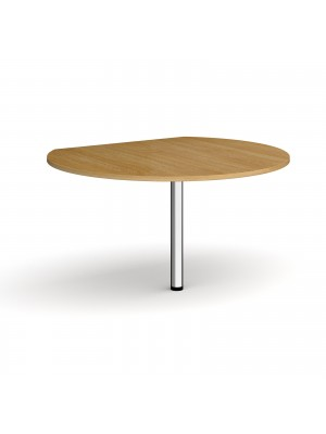 D-end desk extension circular table 1200mm diameter with chrome leg - oak top