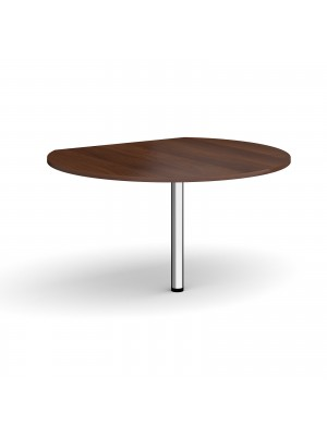 D-end desk extension circular table 1200mm diameter with chrome leg - walnut top