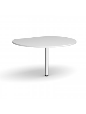 D-end desk extension circular table 1200mm diameter with chrome leg - white top