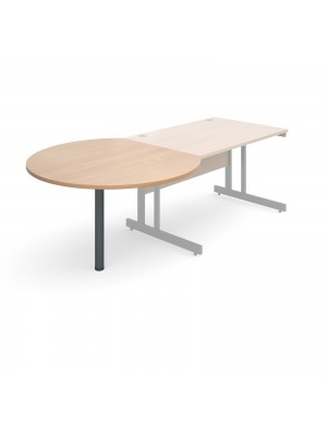 D-end desk extension circular table 1200mm diameter with graphite leg - beech top