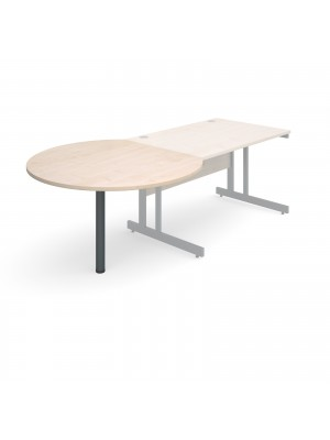 D-end desk extension circular table 1200mm diameter with graphite leg - maple top