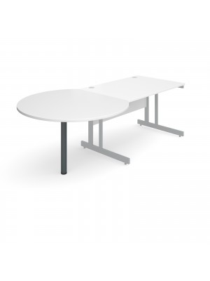 D-end desk extension circular table 1200mm diameter with graphite leg - white top