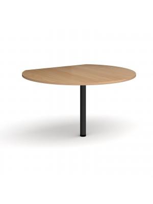 D-end desk extension circular table 1200mm diameter with black leg - beech top