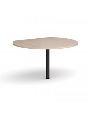 D-end desk extension circular table 1200mm diameter with black leg - maple top