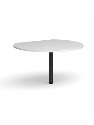 D-end desk extension circular table 1200mm diameter with black leg - white top