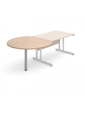 D-end desk extension circular table 1200mm diameter with silver leg - beech top