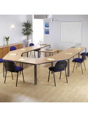 Rectangular flexi table with silver frame 1400mm x 800mm - oak