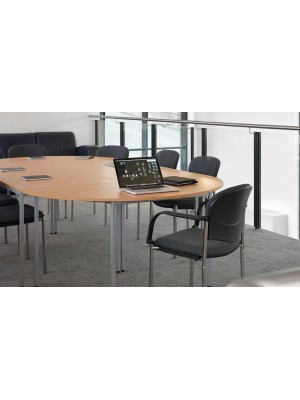Rectangular flexi table with silver frame 1200mm x 800mm - beech