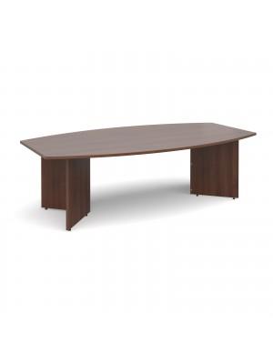 Arrow head leg radial boardroom table 2400mm x 800/1300mm - walnut