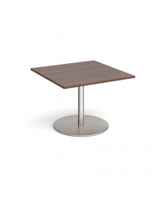 Eternal square extension table 1000mm x 1000mm - brushed steel base, walnut top