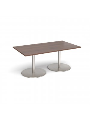 Eternal rectangular boardroom table 1800mm x 1000mm - brushed steel base, walnut top