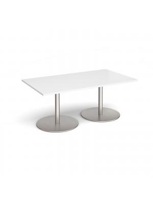 Eternal rectangular boardroom table 1800mm x 1000mm - brushed steel base, white top