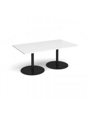 Eternal rectangular boardroom table 1800mm x 1000mm - black base, white top