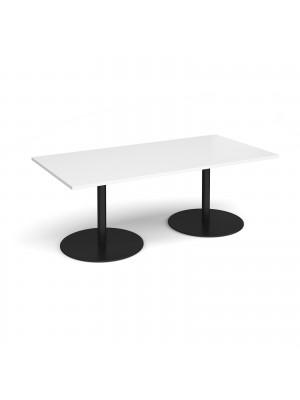 Eternal rectangular boardroom table 2000mm x 1000mm - black base, white top