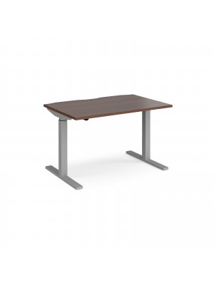 Elev8 Mono straight sit-stand desk 1200mm x 800mm - silver frame, walnut top