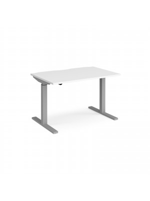 Elev8 Mono straight sit-stand desk 1200mm x 800mm - silver frame, white top