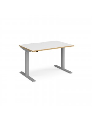Elev8 Mono straight sit-stand desk 1200mm x 800mm - silver frame, white top with oak edge