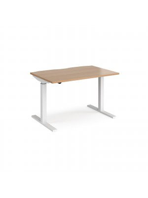 Elev8 Mono straight sit-stand desk 1200mm x 800mm - white frame, beech top