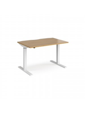 Elev8 Mono straight sit-stand desk 1200mm x 800mm - white frame, oak top