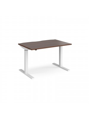 Elev8 Mono straight sit-stand desk 1200mm x 800mm - white frame, walnut top