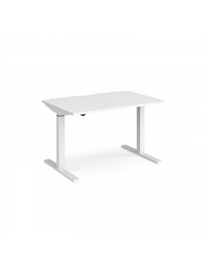 Elev8 Mono straight sit-stand desk 1200mm x 800mm - white frame, white top