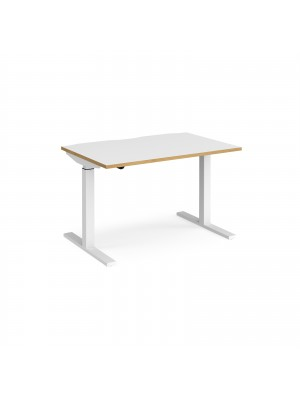 Elev8 Mono straight sit-stand desk 1200mm x 800mm - white frame, white top with oak edge