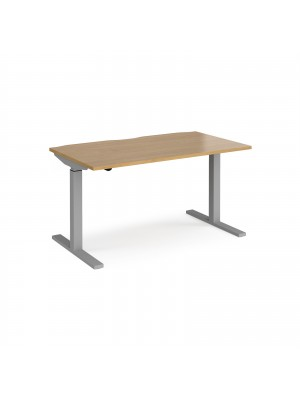 Elev8 Mono straight sit-stand desk 1400mm x 800mm - silver frame, oak top