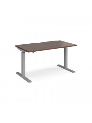 Elev8 Mono straight sit-stand desk 1400mm x 800mm - silver frame, walnut top
