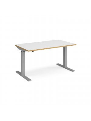 Elev8 Mono straight sit-stand desk 1400mm x 800mm - silver frame, white top with oak edge