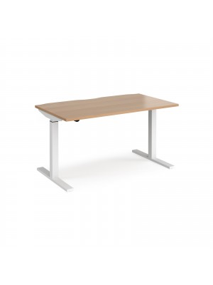 Elev8 Mono straight sit-stand desk 1400mm x 800mm - white frame, beech top